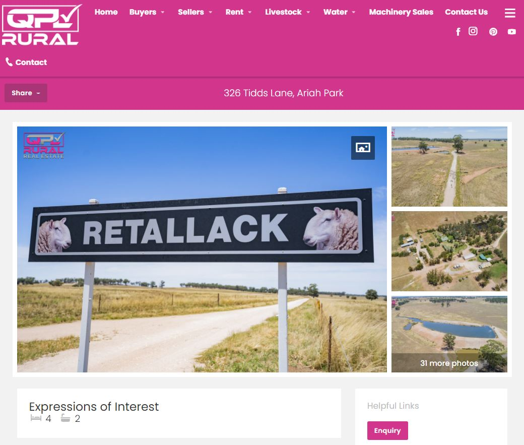 Retallack Property and Stud for sale listing